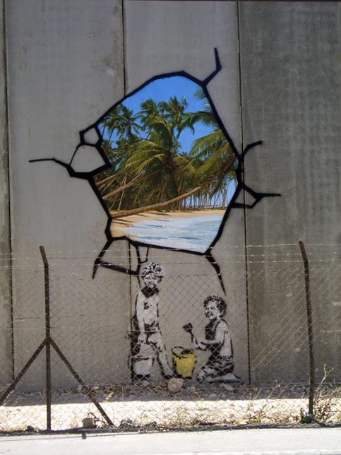 Banksy West Bank kinderen onder doorkijk